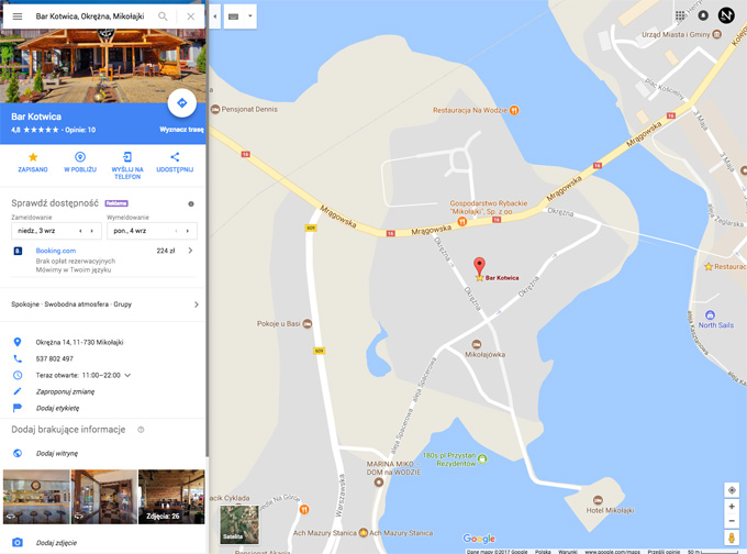 Bar Kotwica  na mapach Google The Next Step, Aleks Grynis